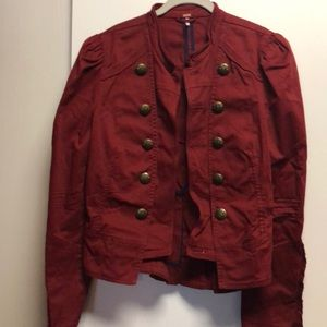 Burgundy jacket with bottoms